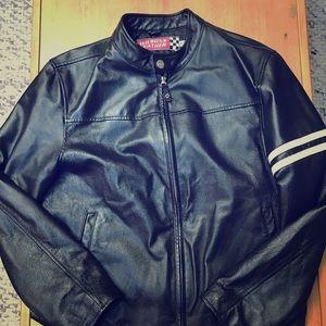 Leather racing moto jacket